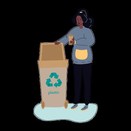 Woman throwing garbage in recycle bin Illustration