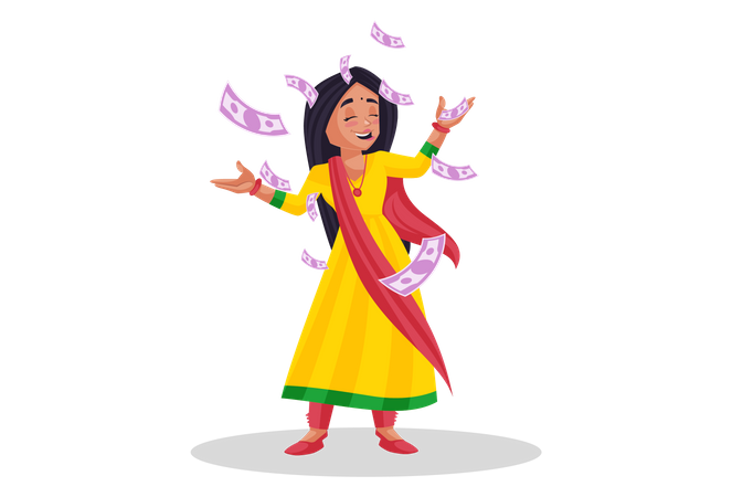 Woman throwing indian rupees in air Illustration