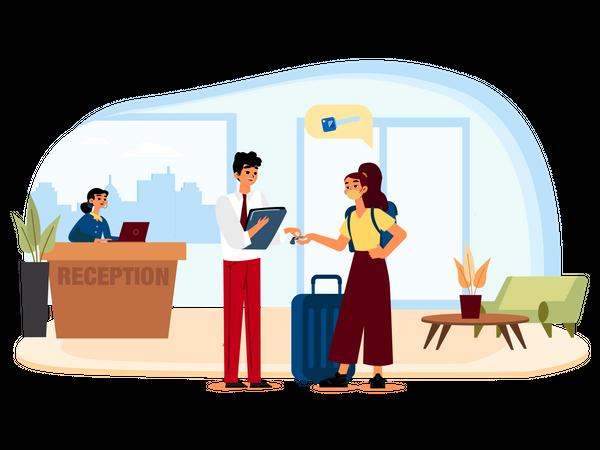 Woman tourist check into hotel Illustration