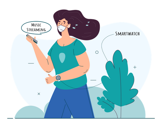 Woman tracking her fitness in her smartwatch Illustration