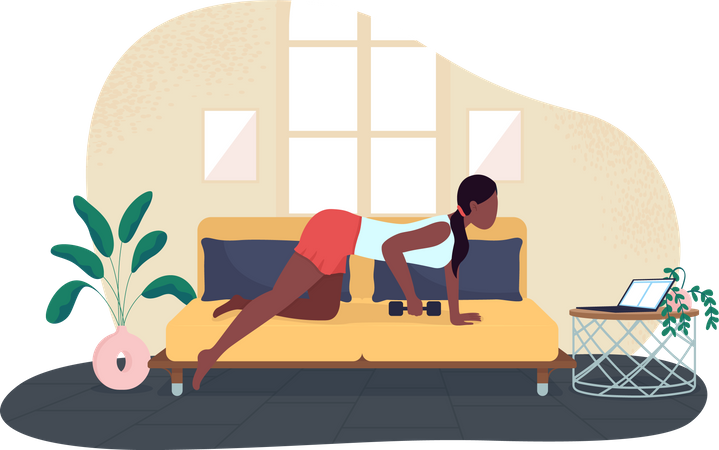 Woman training while working Illustration