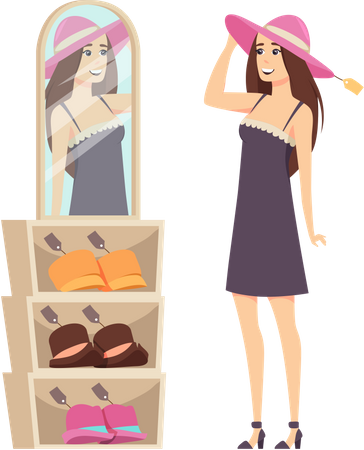Woman trying new hat from her wardrobe Illustration