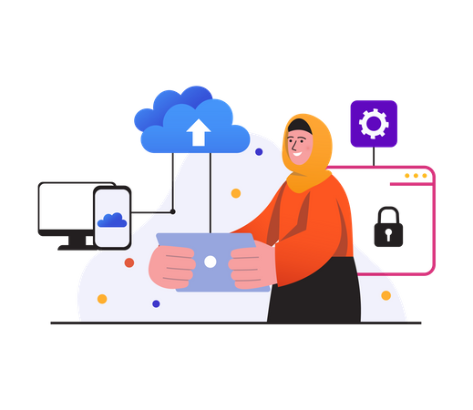 Woman uploading data to secure cloud Illustration