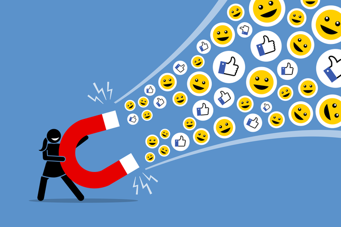 Woman using a big magnet to attract social media likes thumb up, and smiles Illustration