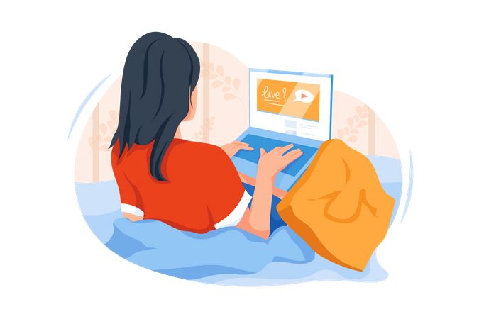 Woman using internet for live video streaming Illustration