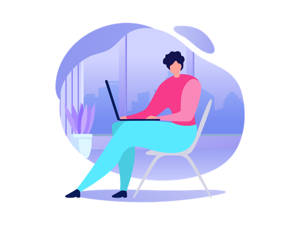 Woman Using Laptop, Booking Tickets in Internet, Buying Goods, Communicating with Friend in Social Network Illustration