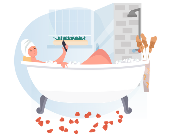 Woman using mobile while bathing Illustration