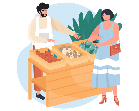 Woman using mobile while doing shopping Illustration