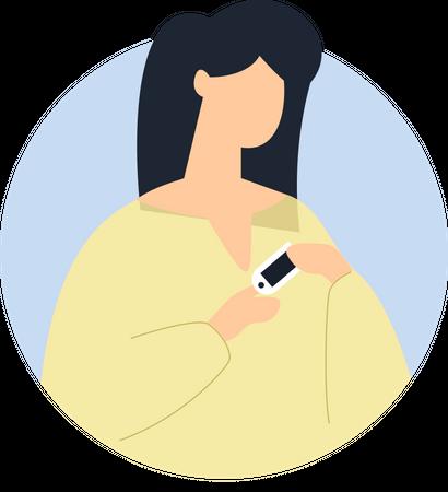 Woman using oximeter device Illustration