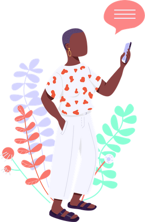 Woman using text message service Illustration