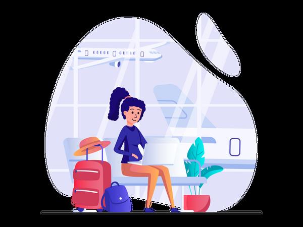 Woman waiting for flight Illustration