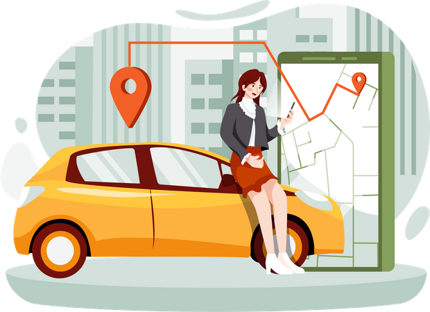 Woman waiting for the cab Illustration