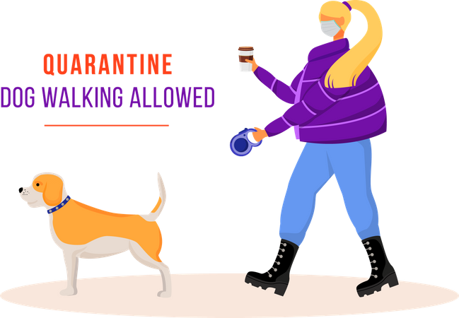 Woman walking dog during quarantine Illustration