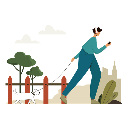 Woman walking in park with her dog Illustration