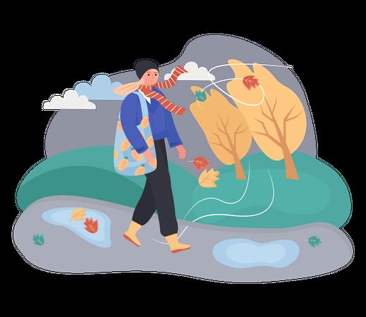 Woman walking in windy Weather Illustration