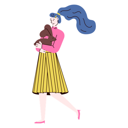 Woman walking while holding rabbit in her hand Illustration