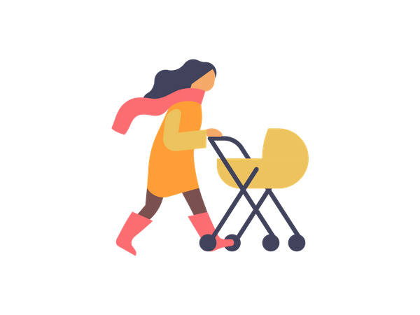 Woman walking with baby stroller Illustration