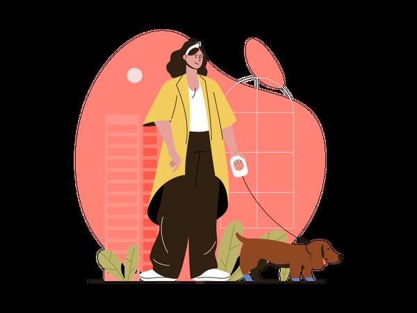 Woman walking with dog Illustration