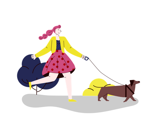 Woman walking with her dog Illustration