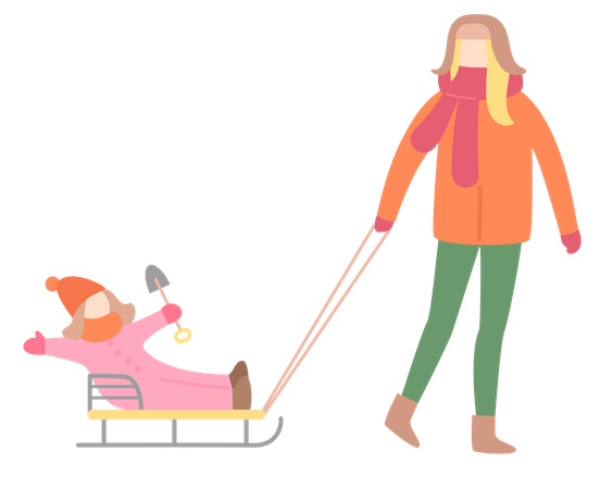 Woman Walking with Little Girl on Sleigh Illustration