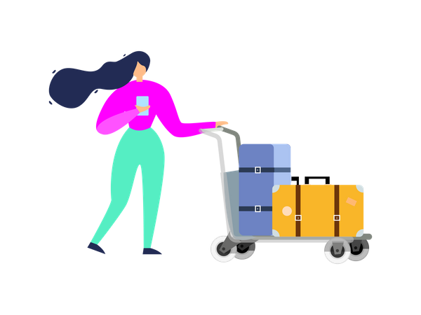 Woman walking with travel bags Illustration