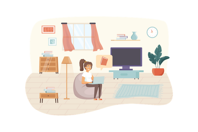 Woman watching online course or reading e-book at laptop sitting in living room Illustration