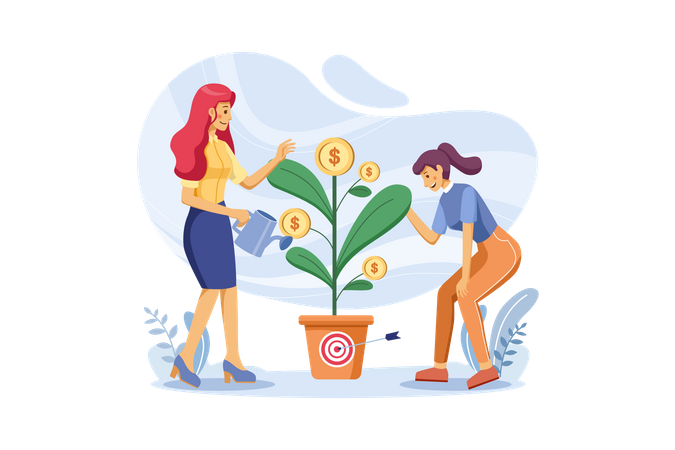 Woman watering and taking care of money plant Illustration