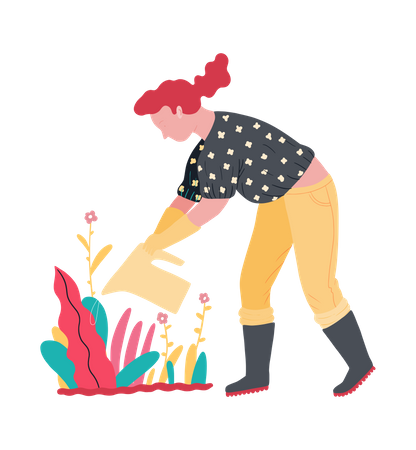 Woman watering to plant Illustration