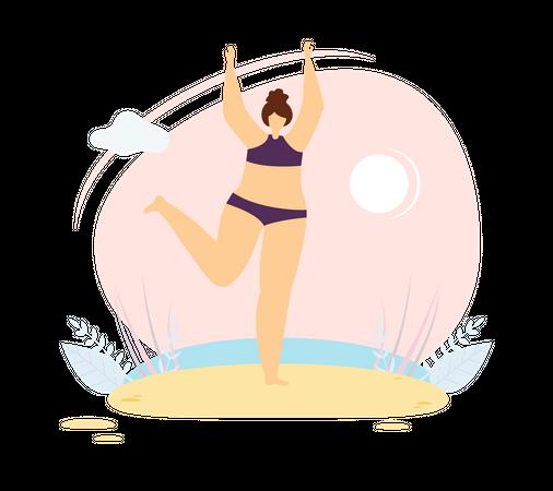 Woman wearing bikini standing on beach Illustration