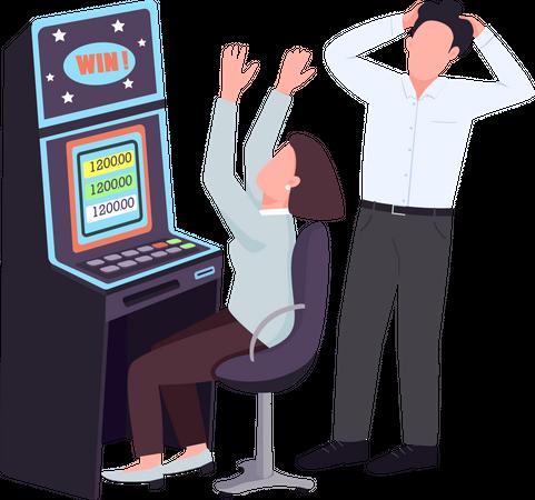 Woman win at slot machine Illustration