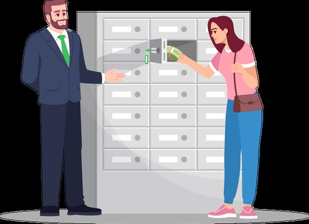 Woman with bank advisor in locker room Illustration