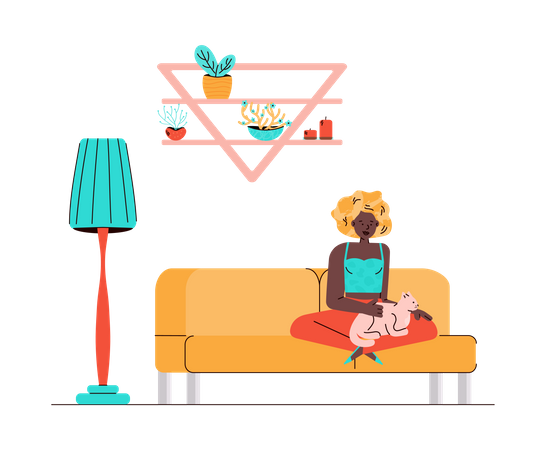 Woman with cat in her lap sitting on couch Illustration