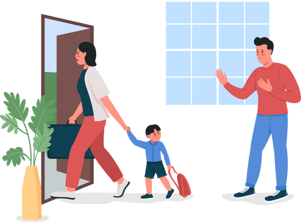 Woman with child leaving house husban Illustration