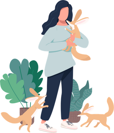 Woman with fennec foxes Illustration