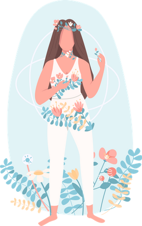 Woman with flowers Illustration