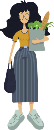 Woman with grocery shop purchase Illustration