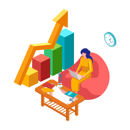 Woman with laptop and 3d infographic Illustration