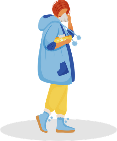 Woman with nasal sickness Illustration