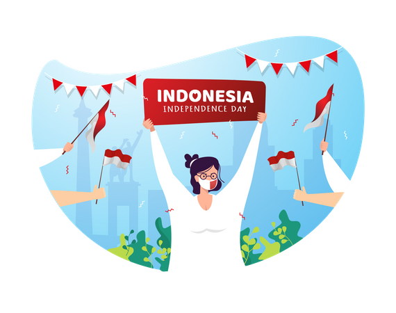 Woman with sign of Indonesia independence day Illustration
