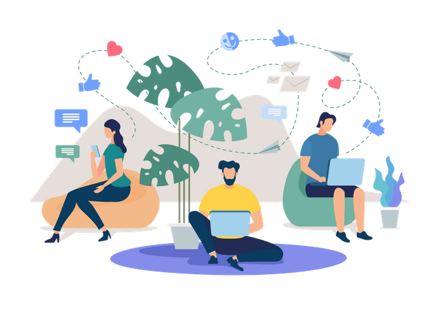 Woman with Smartphone, Men with Laptop Mailing Online, Messaging in Internet, Chatting with Friends or Colleagues in Social Network Illustration