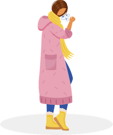 Woman with sore throat Illustration