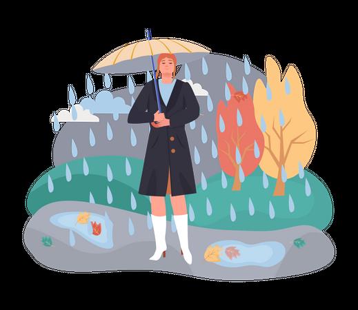 Woman with umbrella in rainy season Illustration