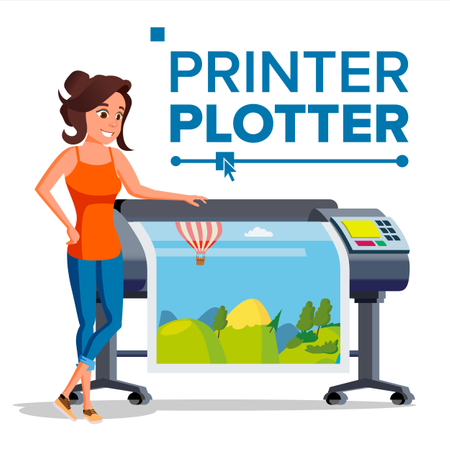 Woman Worker With Plotter Vector Illustration