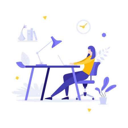 Woman working from home Illustration