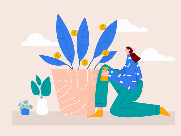 Woman working on Business growth Illustration