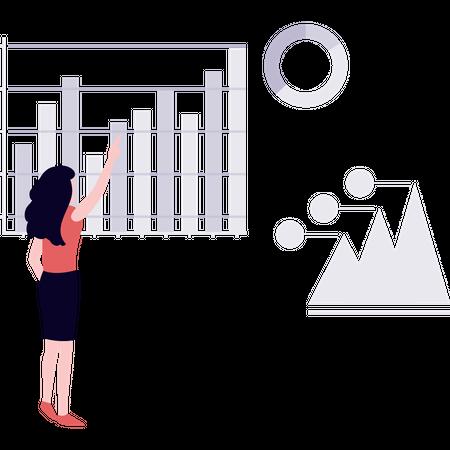 Woman working on data representation Illustration