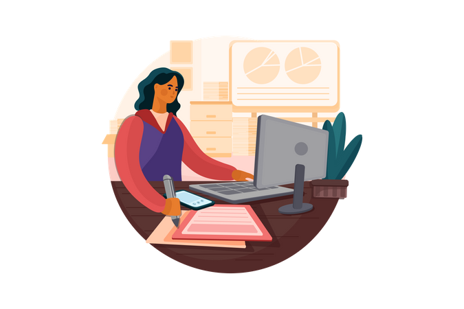 Woman working on new business plan Illustration