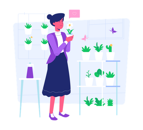 Woman working on Plant care Illustration
