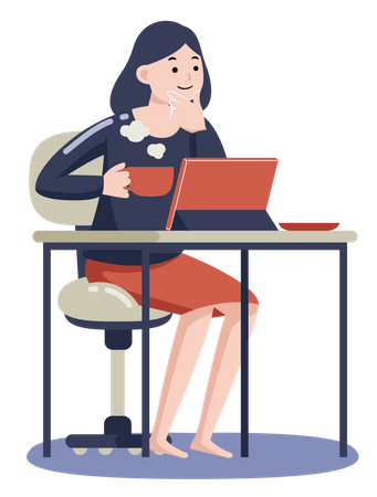Woman working on tablet while drinking coffee Illustration