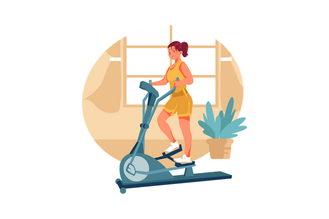 Woman working out on exercise cycle at home Illustration